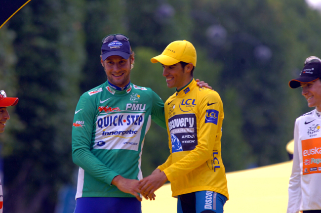 Tom Boonen and Alberto Contador at the end of the 2007 Tour de France