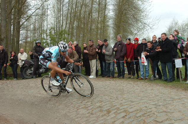 Boonen in the Templeuve cobble sector of the 2012 Paris Roubaix
