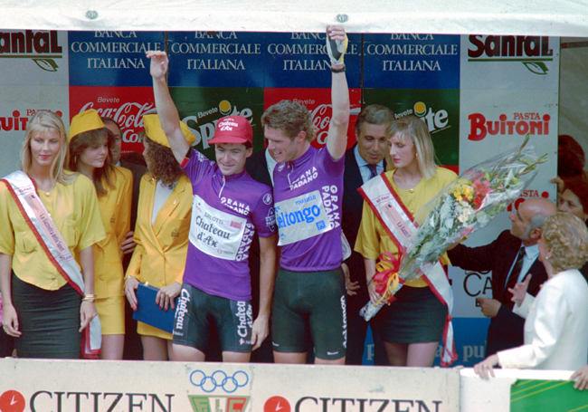 Cipollini on the podium with Gianni Bugno