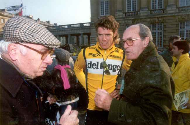 Cipollini at the start of the 1990 Paris-Roubaix with Rino Negri and Alfredo Martini