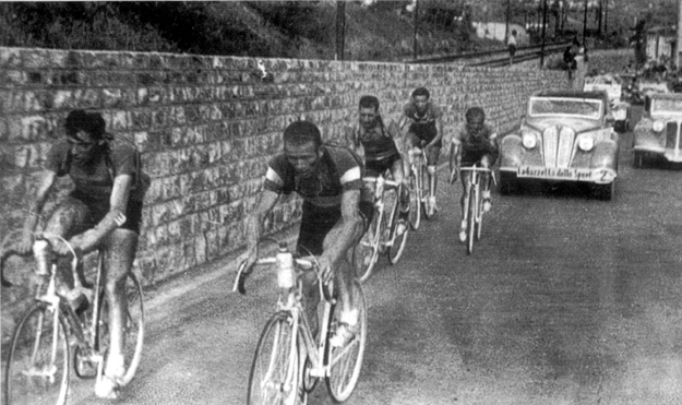 Fusto Coppi and Mario Vicini lead a break