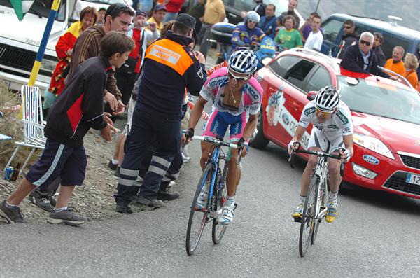 Paolo Tiralongo and Cadel Evans