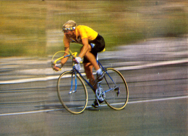 Fignon winning the final time trial stage of the 1983 Tour de France