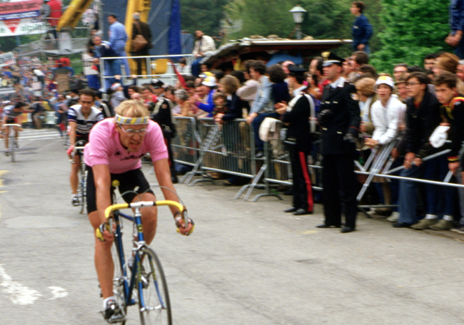 Laurent Fingon finishes stage 5 of the 1984 Giro