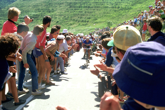 Fignon races up l'Alpe d'Huez in stage 16 of the 1984 Tour de France