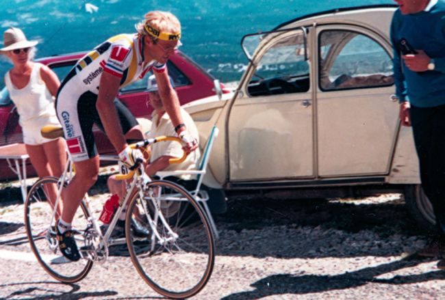 Laurent Fignon time trial up Mt. Ventoux in stage 16 of the 1987 Tour de France