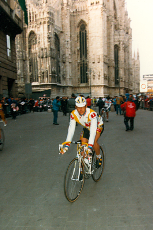 Laurent Fignon at the start of the 1988 Milano-San Remo