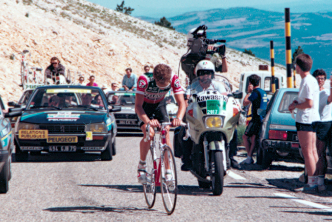 Andy Hampsten climbs Mt Ventoux in the 1987 Tour de France