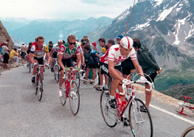 Andry Hampsten climbs to La plagne in the 1987 Tour de France