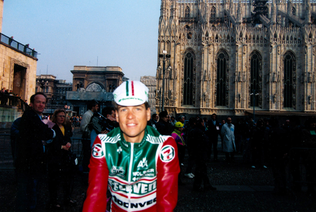 Andy Hampsten at the start of the 1990 Milano-San Remo