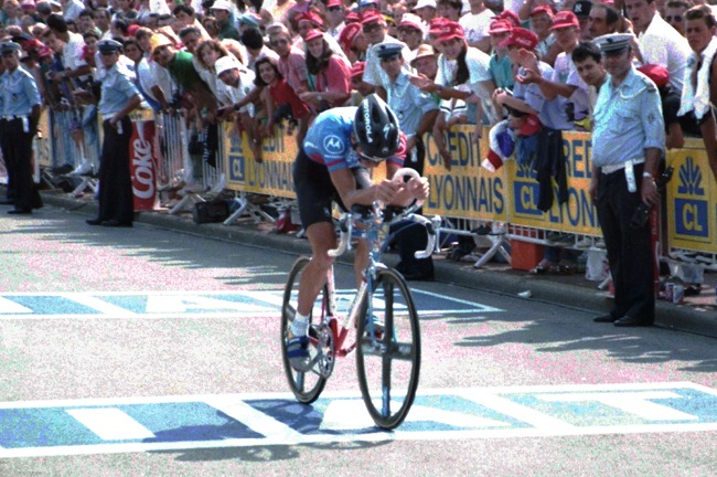 Hampsten time trails in stage 20 of the 1991 Tour de France