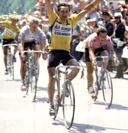 1982 Giro d'Italia, stage 21, Saronni beats Hinault at Pinerolo