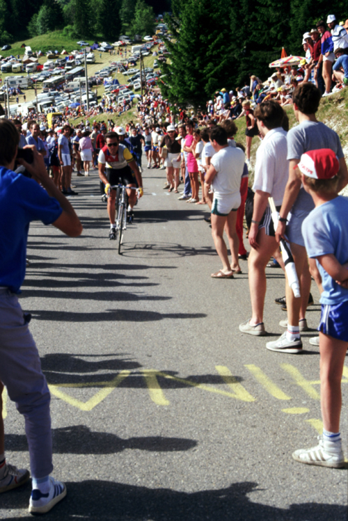 Bernard Hinault rides up l'Alpe d'Huez in the 1984 Tour de France