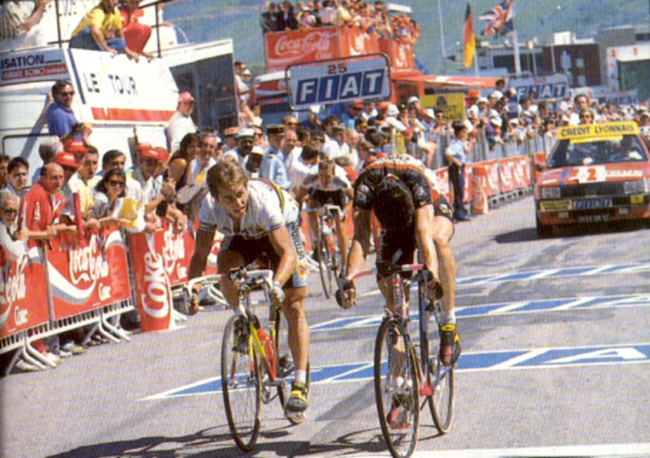 Bugno just beata LeMond in stage 11 of the 1990 Tour
