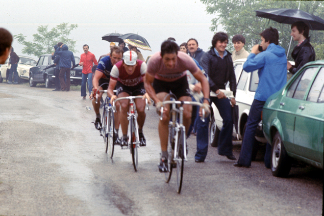 Maertens and Francesco Moser at the 1977 Giro d'Italia