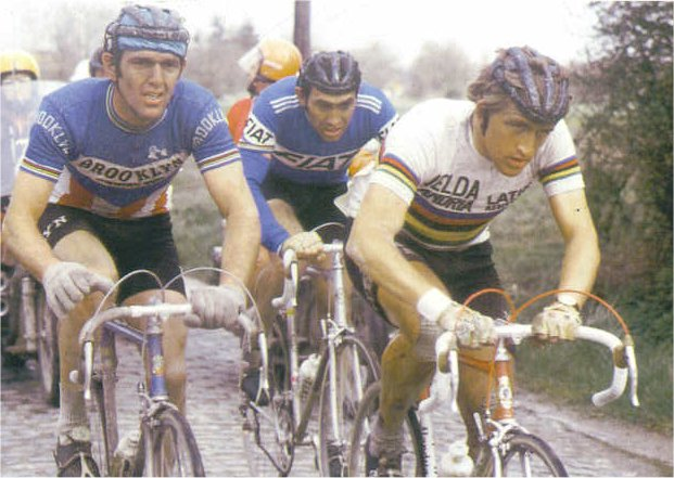 Maertnes racing with de Vlaeminck and Merckx