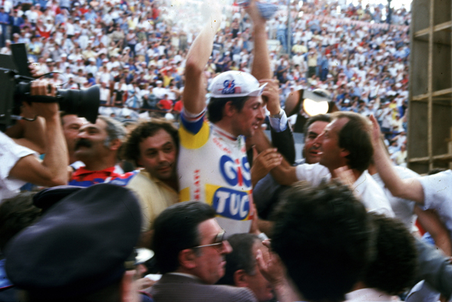 Moser after winning the 1984 Giro d'Italia