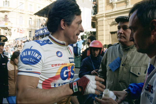 Fr4ancesco Moser after the 1985 Milano-San Remo
