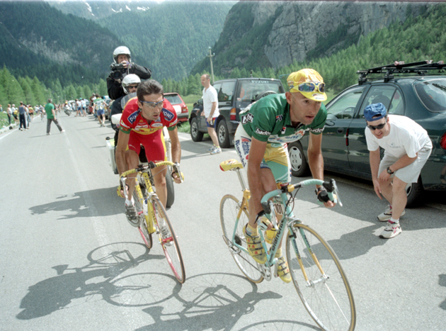 Marco Pantani and Giuseppe Guerini in the 198 Giro d'Italia
