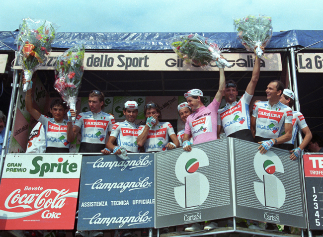 Roche in pink in the 1987 Giro d'Italia