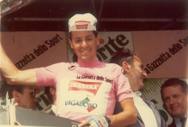 Roche on the podium of the 1987 Giro