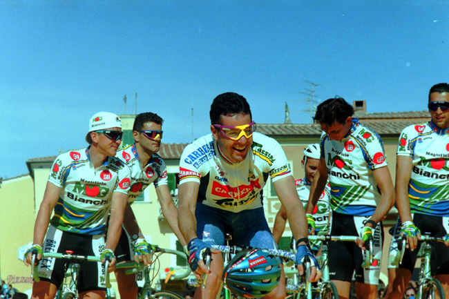 Roche at the 1993 giro d'Italia team presentation