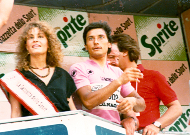 Saronni in pink at stage 10 of the 1986 Giro d'Italia