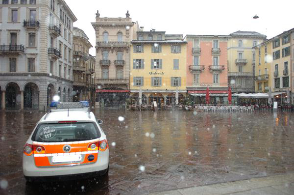 Snow falling in Lugano