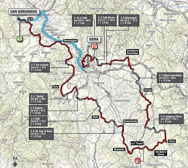 2015 Strade Bianche map