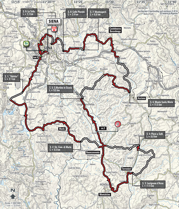 Strade Bianche map
