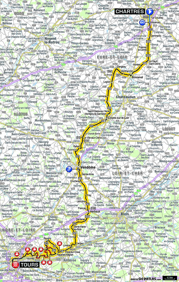 2018 Paris-Tours map