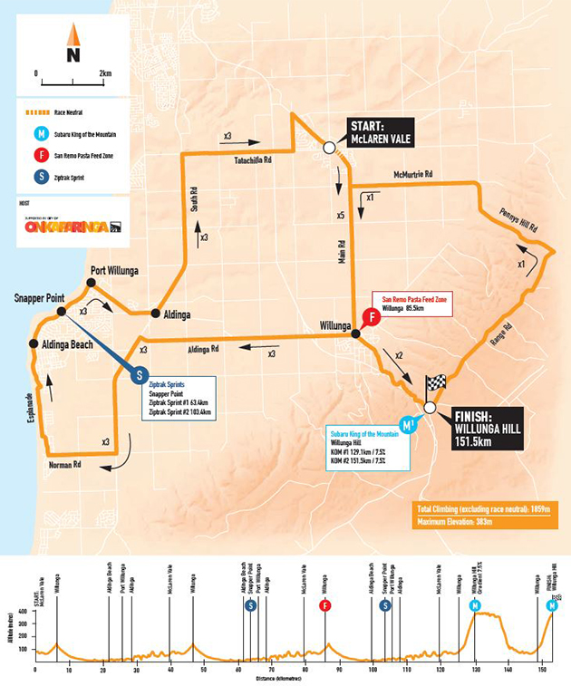 Tour Down Under stage six map