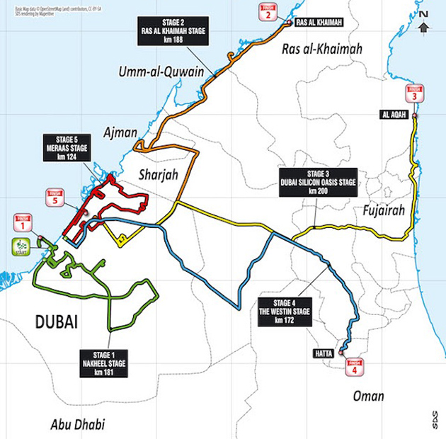 2017 Dubai Tour map