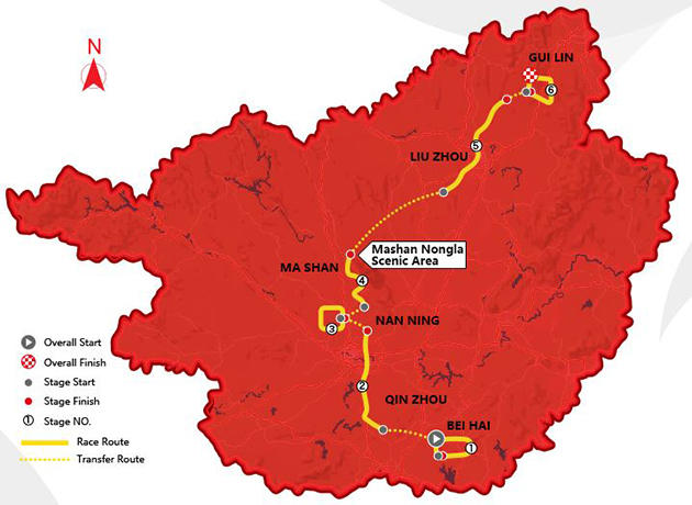 2017 Tour of Guangxi overall map