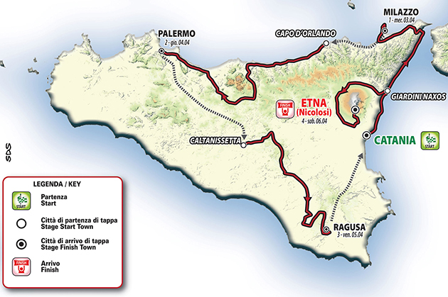 Tour of Sicily map
