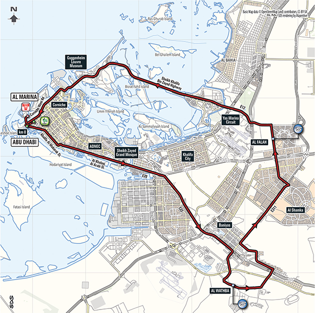 Abu Dhabi Tour stage 3 map