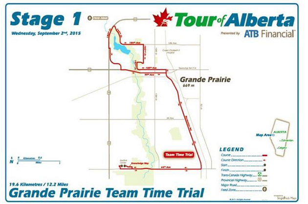 Alberta Tour stage 1 map