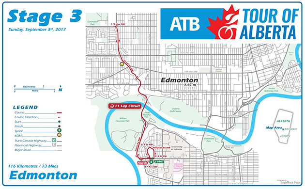 Tour of Alberta stage 3 map