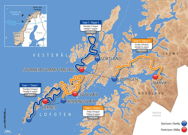 2019 Arctic Race of Norway map