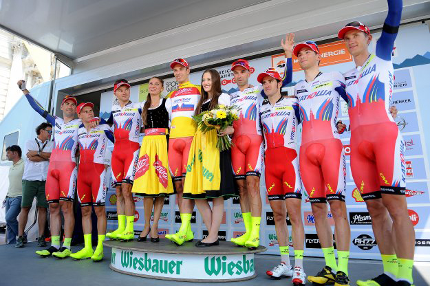 Katusha on the podium