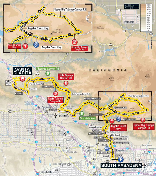Tour of California stage 2 map