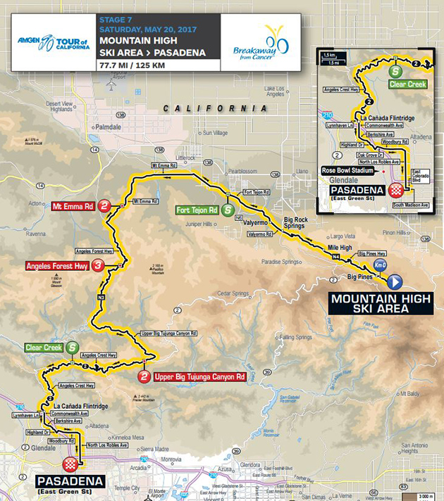 Tour of California stage 7 map