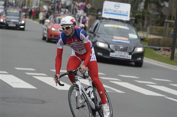Marco Frapporti racing alone through Koksijde