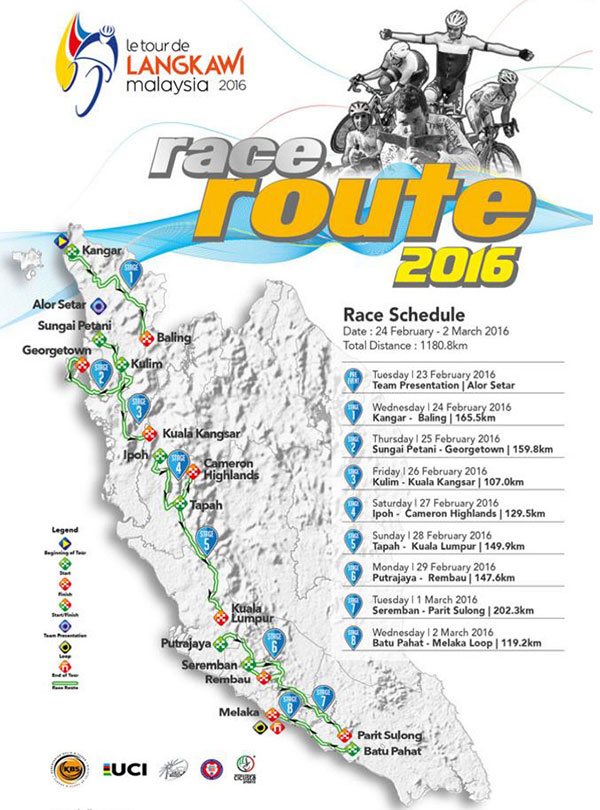 2016 Tour de Langkawi race map