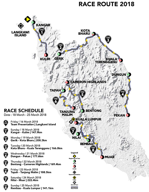 Tour de Langkawi map