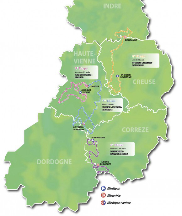 2015 Tour of Limousin map