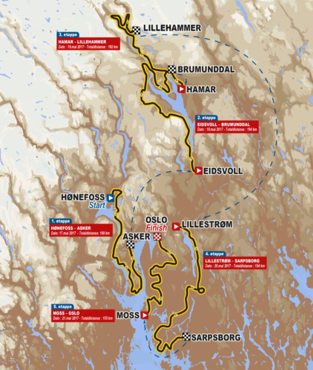 2017 Tour of Norway map