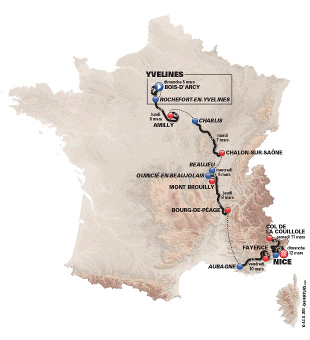 2017 Paris-Nice map