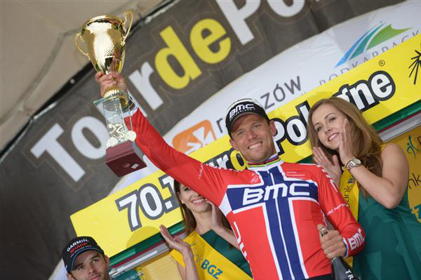 Stage winner Thor Hushovd enjoys his victory