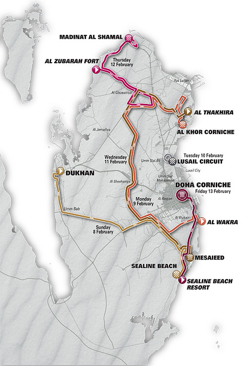 2015 Tour of Qatar map